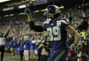 Seattle Seahawks wide receiver Doug Baldwin celebrates after catching a pass for a touchdown against