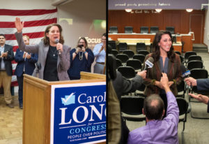 Carolyn Long, left, Democratic candidate for the 3rd Congressional District, speaks to supporters du