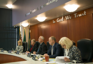 The Clark County Council listens to public comment during a council meeting in June. (Alisha Jucevic