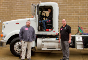 Woodland: Tribeca Transport truck driver Brad Cushman, and Eric Thwaites, chief operating officer, r
