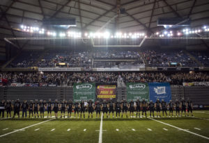 Union lines up before the Class 4A state football championship game against Lake Stevens on Saturday