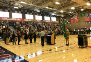 Ridgefield: The Boy Scouts present the colors at a Veterans Day assembly at Ridgefield High School.