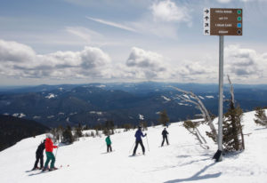 Skiers take in the views from the Mt. Hood Meadows Ski Resort last season near the top of the Vista