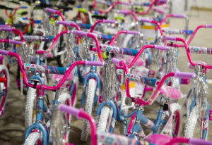Bicycles are parked for final inspection during a bike building event at the Columbia Machine wareho