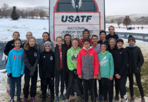 Whisper Running club members at the USATF Junior Olympic Cross Country meet in Reno, Nev., on Saturd