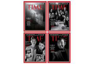"""This combination photo provided by Time Magazine shows their four covers for the """"Person of the"""