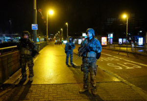 Soldiers patrol in Strasbourg, eastern France, after a shooting Tuesday Dec.11, 2018. French prosecu