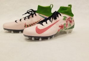 NFL quarterback Marcus Mariota's shoes, which he will wear during a Thursday Night Football gam