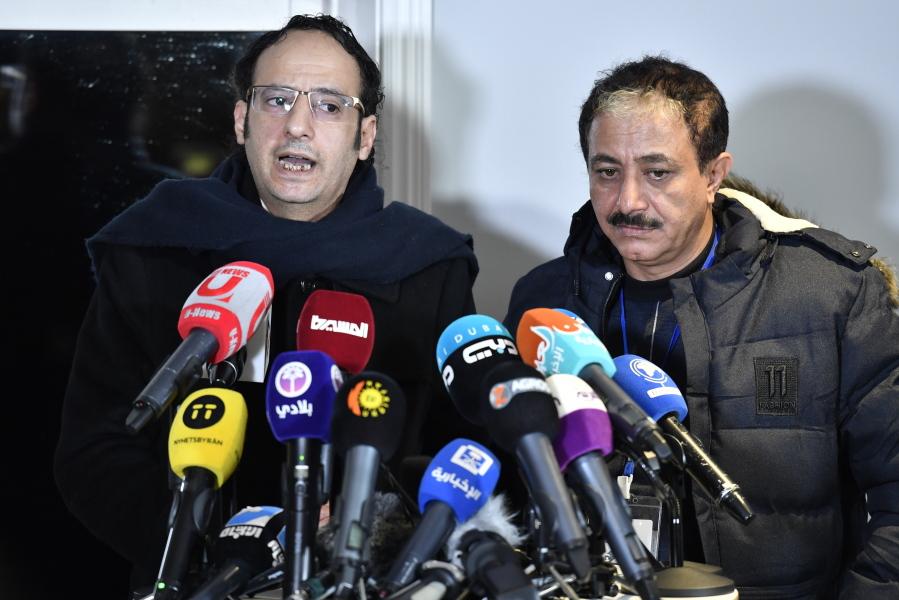 Abdul Malik al Hajry and Abdul Majid Hanash representatives for the Huthi rebel delegation speaks