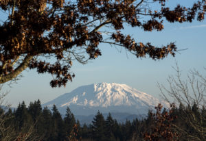 A fresh blanket of snow is visible on Mount St. Helens from the Washington State University Vancouve
