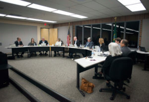 The Battle Ground Public Schools board meets during a district meeting on Monday night. The board di