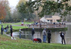 Anglers try their luck for rainbow trout recently at Klinline Pond north of Vancouver. Trout fishing