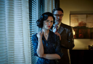 "Laura Mennell as Mimi Hynek and Aiden Gillen as Dr. Allen Hynek in ""Project Blue Book."" Eduardo Araq"