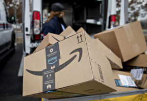 An Amazon package sits at a distribution center in Washington, D.C. Andrew Harrer/Bloomberg