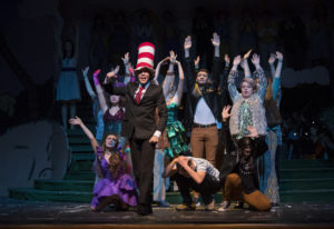 "The Cat in the Hat (Derek Tucker) leads the cast of ""Seussical"" through dress rehearsal earlier this"