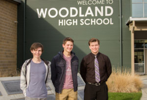 Orion Hollar, from left, Michael Gabalis and Evan Ailinger are Woodland High School seniors who each