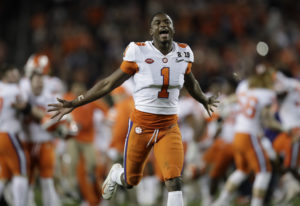 Clemson's Trayvon Mullen celebrates after the NCAA college football playoff championship game a