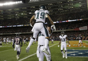 Philadelphia Eagles wide receiver Golden Tate (19) celebrates his touchdown reception with offensive