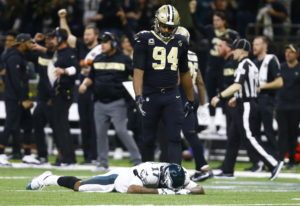Philadelphia Eagles wide receiver Alshon Jeffery (17) lies on the turf in front of New Orleans Saint