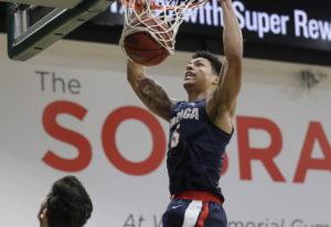 Gonzaga forward Brandon Clarke dunks against San Francisco during the first half of an NCAA college