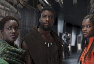 FILE - This file image released by Disney shows Lupita Nyong'o, from left, Chadwick Boseman and Leti