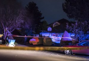 Police cordon off the scene of a stabbing at 13105 SE Angus Street in East Vancouver on Friday night